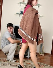Lusty mature housewife in smooth pantyhose bending over right in bathroom