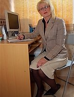 Mature Business Manager Sally In Suit And Stockings