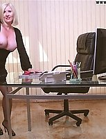 Natasha's Exposed Big Tits And Tan Pantyhose On Her Desk