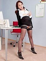 Black Boots And Hold Up Stockings At Work