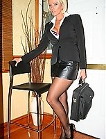 Leggy Lucy Arrives Home From Work At The Office In Black Pantyhose