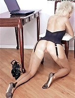 Model Blonde Secretary In Basque And FF Seamed Stockings
