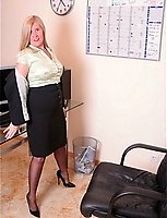 Secretary In Business Suit And Seamed Black Silk Stockings