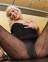 Patterned Black Pantyhose Blonde On Top Of Her Desk