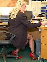 Office Manager Sally Flashes At The Guys In The Office In Her Sexy Underwear