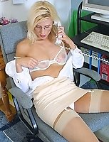 Mature Blonde Nylons Secretary On the Telephone