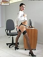 Office Junior Wearing Sheer Black Lace Top Stockings