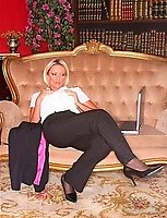 Lucy On Laptop At The Hotel In Black Stockings And Trouser Suit