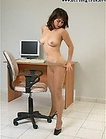 Leggy Skinny Office Junior Opens Her Nylon Legs For You