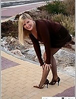Roadside Flashing On A Zebra Crossing In Seamless Brown Pantyhose
