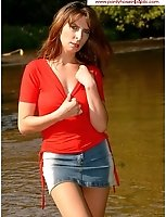 Brunette MILF In The River Wearing Tan Pantyhose