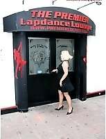In The City In Pantyhose Outside Lap Dancing Bar And Street Side