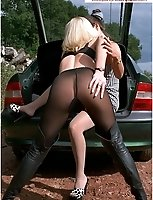 2 Mature Babes In Pantyhose Outside Of Their Car