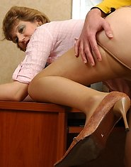 Horny guy falling victim of hot seduction of steamy mom in silky pantyhose