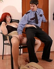 Well-stacked mature tempting a young security into quickie draining his rod