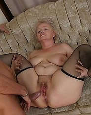 See this kinky granny have fun with a hard cock
