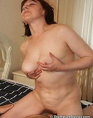 Nasty mature dame riding a hot young ramrod