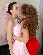 Older lesbo and gorgeous bride having lex after-party with fervent kisses