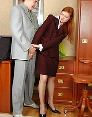 Sex-crazy mature secretary ready for sizzling hot screwing right on a table