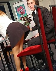 Raunchy mature secretary getting her sheer-to-waist pantyhose cum-covered