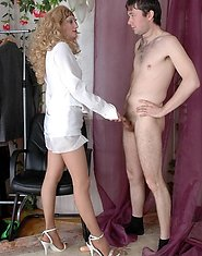 Pantyhosed mature chick toying her ripe twat preparing for mighty dicking